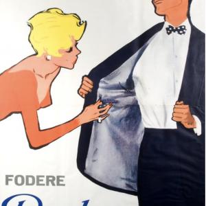"Bemberg ""Occhio alla Fodera"" Original Vintage Poster"