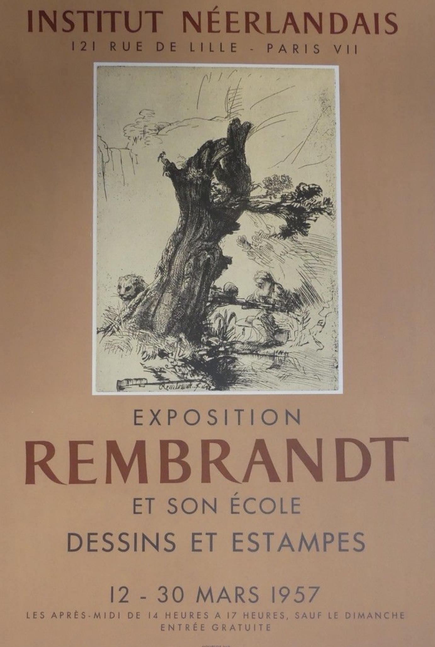 Exposition Rembrandt Original Vintage Poster Letitia Morris Gallery